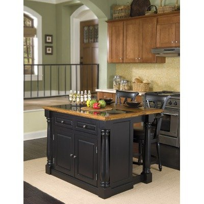 Cheap Monarch Kitchen Island with Granite Insert and Traditional Barstools (Set of: 88-5008-88 and 88-5009-94)