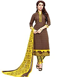 Craftliva Brown And Yellow Embroidery Cotton Dresss Material