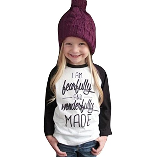 SUPPION Toddler Baby Girls Letter Print Long Sleeve Tops Tee Blouse (2T/ Bust:21.3