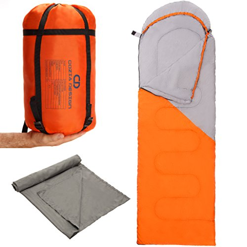 Superior Sleeping Bag Bundle : Lightweight Sleeping Bag + Polyester Sleeping Bag Liner + Compression Bag. Stay Warm and Dry