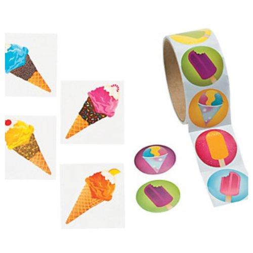 ICE CREAM - Frozen TREAT Party FAVORS - 72 TATTOOS & 100 Stickers - SUMMER Arts & Crafts - TEACHER - Daycare - 1