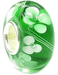 Sterling Silver Green Glass Flower Glass Bead Charm For European Charm Bracelets 12.5mm