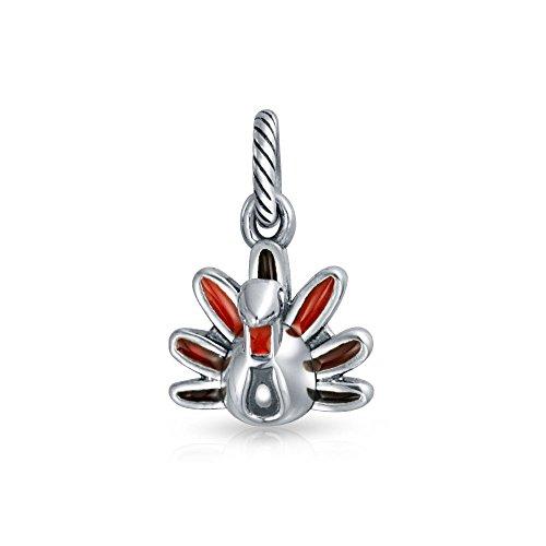 Bling Jewelry Sterling Silver Dangle Multicolor Enamel Turkey Bead Fits Pandora