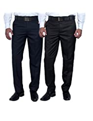 Routeen Wall Street Slim Fit Formal Pants For Men - Blue, Black (Combo Pack Of 2)