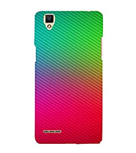 PrintVisa Red Blue Green Diagonal Line Pattern 3D Hard Polycarbonate Designer Back Case Cover for Oppo F1