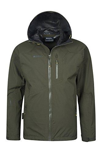 Mountain Warehouse Bachill Herren wasserdichte atmungsaktive Jacke mit Kapuze Anorak Regenmantel Freizeit Sport Wander Walking Camping Khaki Large -