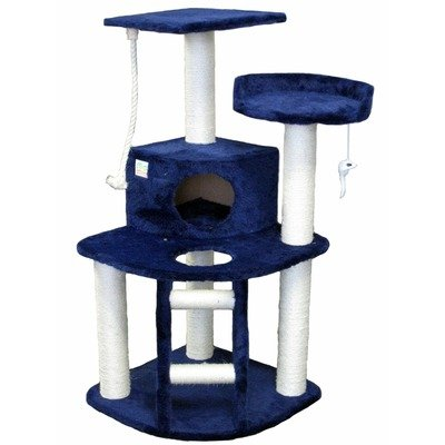 Go Pet Club Cat Tree Condo House, 32-Inch W by 25-Inch L by 47-1/2-Inch H, Blue