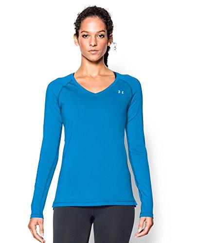 Under armour women 39 s heatgear long sleeve shirt jazz blue for Silver metallic shirt women s