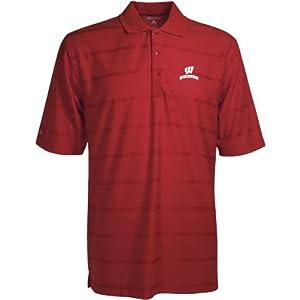 Wisconsin Badgers Polo - NCAA Antigua Mens Tone Dark Red by Antigua