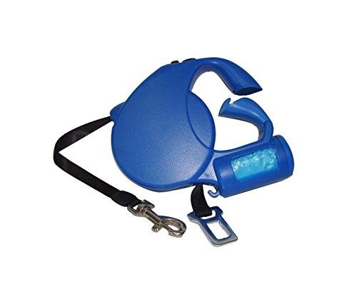Guinzaglio retrattile Fortesan Tecno Blu - Estensibile fino a 5 metri, con dispenser portasacchetti e cinghia di sicurezza
