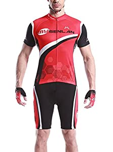 MSL Men's Bike Breathable Cycling Jersey Set Short Sleeves Shirts+Shorts Red-XL