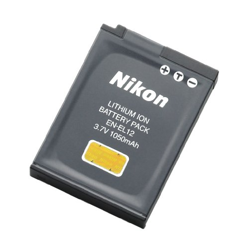 Nikon EN-EL12 Rechargeable Li-Ion Battery for Coolpix S1000pj, S1100pj, S6000, S610, S620, S630, S640, S70, S710, S8000, and S8100 - Retail Packaging
