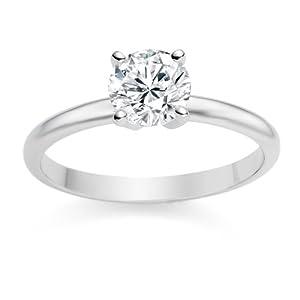 Diamond Manufacturers, Damen, Verlobungsring mit 0.39 Karat E/SI1 feinem und zertifiziertem Runddiamant in Platin 950