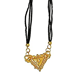 Surat Diamonds Gold Plated Mangalsutra Pendant with Black Kedia Beads Chain 30 IN for Women  MNG13  available at Amazon for Rs.99