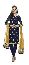Deepaakshi Women's Chanderi Unstitched Dress Material (DC12_Black_Free Size)