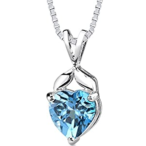 Swiss Blue Topaz Pendant Necklace Sterling Silver 3.00 Carats Heart Shape from Peora