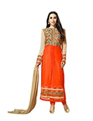 Aarti Saree Trendy Fashionable Orange And Beige Straight Fashionable Suits With Heavy Embroidery
