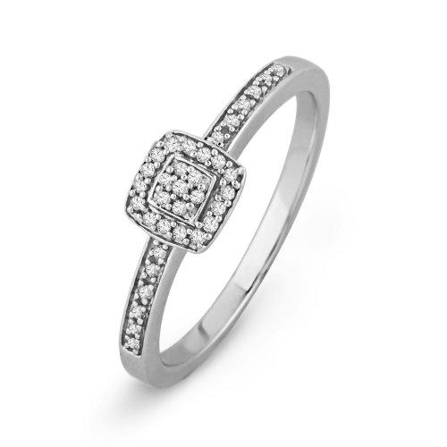 10KT White Gold Round Diamond Promise Ring (0.12 CTTW)