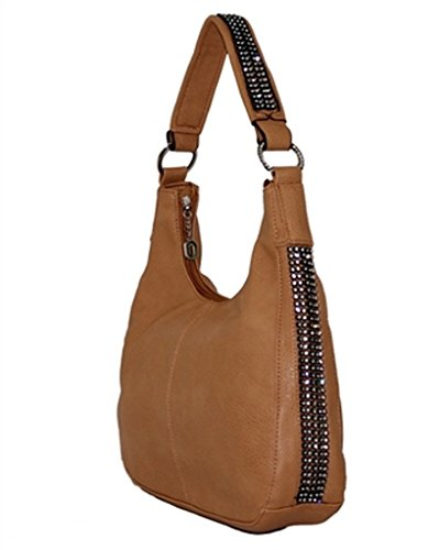 Light Brown Rhinestone Left And Right Concealed Carry Hobo Purse Roma 8001