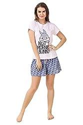 Brand Me Up women Morning bunny night suit short set round neck cap sleeve night suit set - S Szie (Baby Pink)