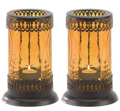 2 Standing Amber Glass Lantern Candle holders