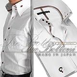 トレボットーニ・センターボタンダウンドレスシャツ(ダブルカフス)/ホワイト(ワインクリスタルリボン)【Le orme】日本製・長袖・メンズワイシャツ・カフスボタン2個付き(JS-9588-1)