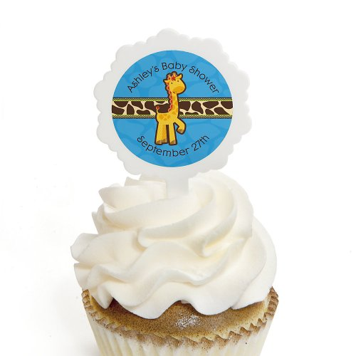 Giraffe Boy - Personalized Baby Shower Cupcake Picks And Sticker Kit - 12 Ct front-107312