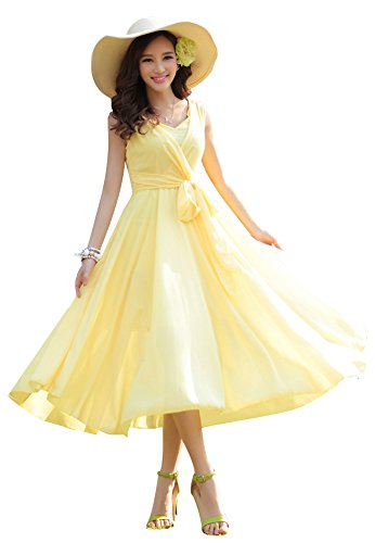 Ilishop Women's Sleeveless Pleated Prom Party Chiffon Hot Summer Long Dress Yellow XL