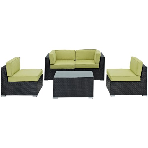 LexMod Camfora Outdoor Wicker Patio 5 Piece Sofa Set in Espresso with Peridot Cushions
