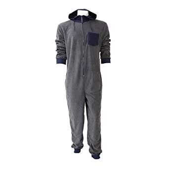 Mens soft fleece hooded contrast all in one onesie l xl for Mens dress shirt onesie