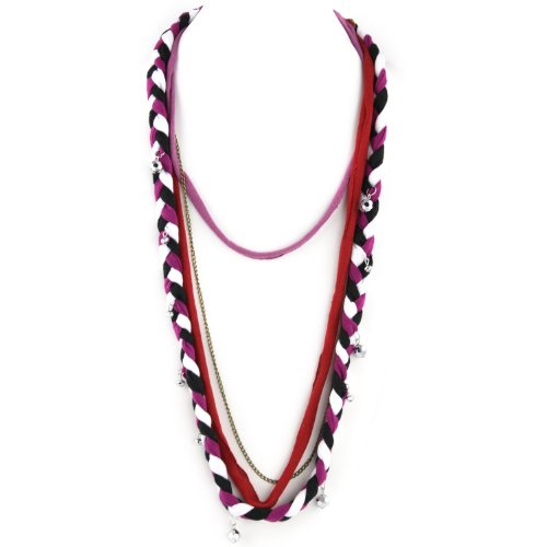 Soft Braided Fabric Layered Necklace - Crystal Cut Shimmery Beads - Brass Chain Link - Fuschia Black White & Red