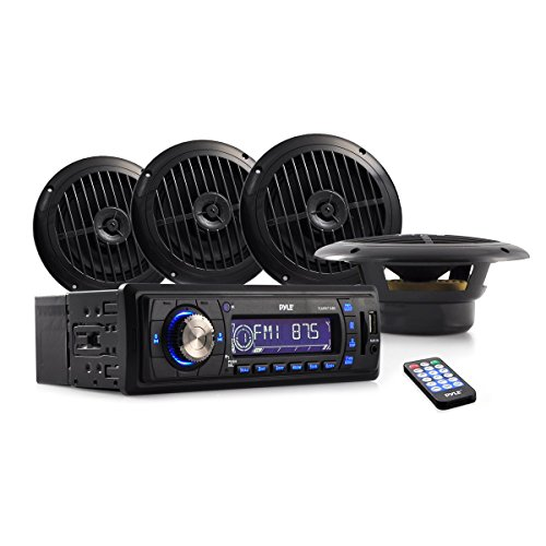Pyle Marine Stereo Radio Headunit Receiver & Waterproof Speaker Kit, Aux (3.5mm) MP3 Input, CD Player, Remote Control, Includes (2) 5.25'' Speakers, Radio Splash Cover (Mustang Head Unit compare prices)