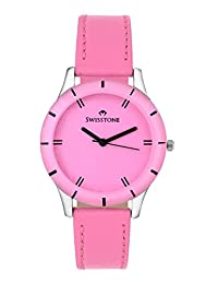 Swisstone Pink Dial Pink Leather Strap Analog Watch For Women/Girls- ST-LR002-PNK-PNK
