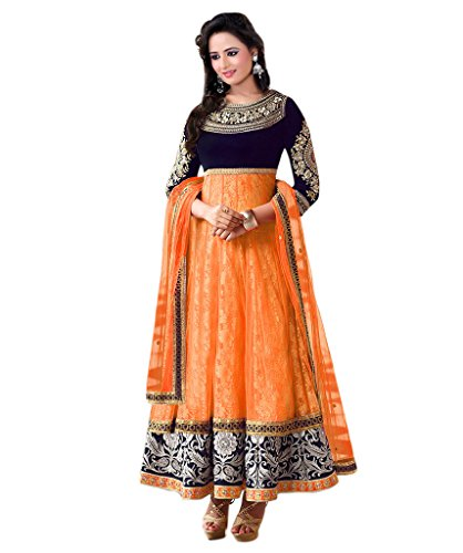 Orange & Blue Semi-Stitched Velvet & Net Party Wear Salwar Suit  available at amazon for Rs.799