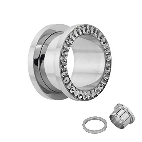crystal-in-silver-flesh-tunnel-with-clear-crystals-17-size-2-30-mm-screw-on-316l-nickel-free-stainle
