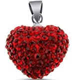 Ruby Color Cz Crytals Round Heart Pendant Large 15 Mm 3d Heart Shape Pendant Slider