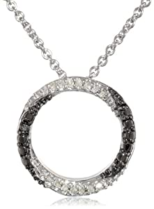 Sterling Silver 0.05cttw Black and White Diamond Circle Pendant Necklace , 18