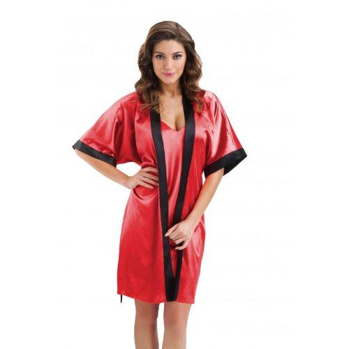 Damen Morgenmantel Satin Kimono Bademantel Schwarz, Weiß, Gold, Pink, Rot, Dunkelblau, Koralle / Made in EU, Farbe: Rot, Größe: L