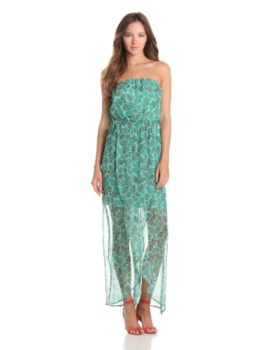 Gypsy 05 Women's Bahia Hydrangea Print Tube Maxi Dress, Emerald, Medium