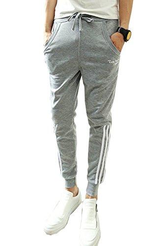 Minetom Pantaloni da Jogging da Uomo sportivi Casual Sarouel danza Pantaloni in esecuzione ( Striscia?corta?grigio EU XL )
