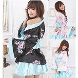 【Gatto】 和装・着物 コスチューム コスプレ 浴衣(女) ゆかた 浴衣 ドレス 黒 ブルー(花柄) ふりふり 軽量 (振袖上着、帯、スカート の 3点 セット)