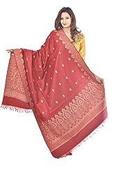 Weavers Villa - Womens Maroon Jamdani Kashmiri Shawls ,Stoles