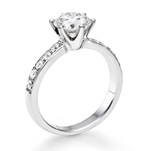 Diamond Engagement Ring in 18K Gold / White Certified, Round, 0.74 Carat, F Color, SI3 Clarity