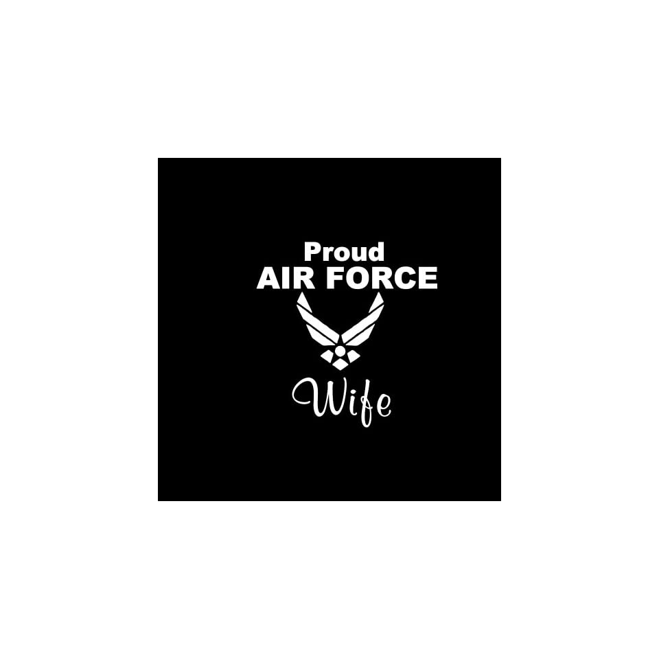 "Proud Air Force Wife Car Window Decal Sticker White 5"" Automotive"