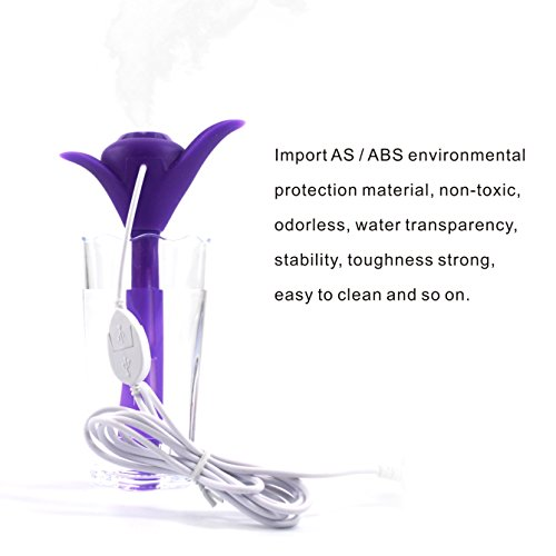 KaLaiXing USB Portable Nebulizer Mini Water Bottle Caps Humidifier USB Air Diffuser-Purple