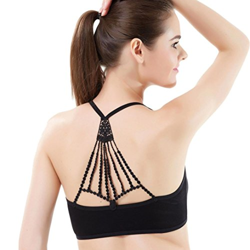 Usstore Women's Intimates Underwear Back Embroidery Lace Bra Bustier Crop Top Tank Clothing (Black)