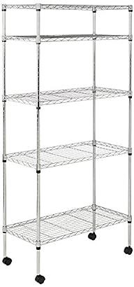 AmazonBasics 5-Shelf Shelving Unit on Wheels – Chrome