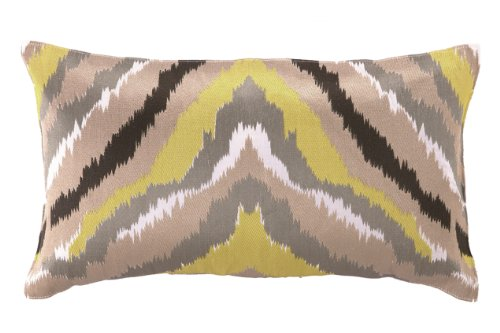 Trina Turk Ikat Yellow Embroidered Decorative Pillow, 20 By 12-Inch, Black/Yellow front-1051879