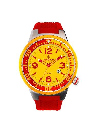 Kienzle POSEIDON S Slim K2103019023-00413 - Reloj analógico de cuarzo unisex, correa de silicona color rojo