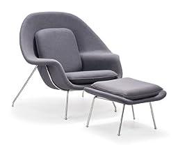 Zuo Modern Nursery Chair And Ottoman, Light Gray
